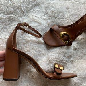 Coach NEW Brown Leather Maya High Heel Sandals 6.5